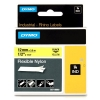 Dymo 18490 IND Rhino 12mm flexible nylon tape, black on yellow (original)