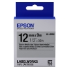 Epson LK 4SBM black on silver metallic tape, 12mm (original)